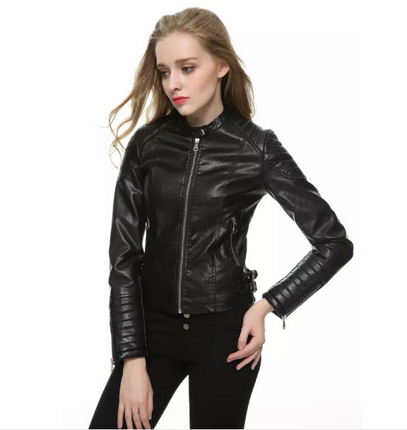 2017 New Autumn Fashion Street Women's Short Washed PU Leather Jacket Zipper Bright Colors New Ladies Basic Jackets Good Quality