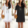2016 Summer Women Mini Dress Sexy Crochet Off Shoulder Lace Party Dresses Bohemian V Neck Short Sleeve White Black Vestidos