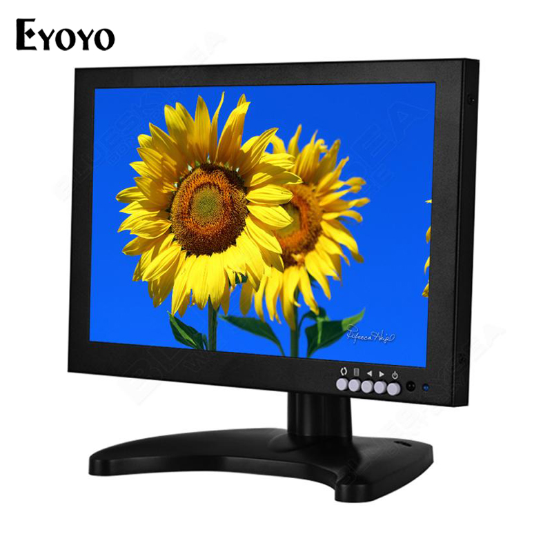 Eyoyo 10 inch IPS Display Monitor HD 1280*800 Pixels Video VGA HDMI AV USB Input LCD Monitor for CCTV DVD PC TV Built-in Speaker 12 tft lcd monitor 1280 x 800 pixels 16 10 vga cable power adapter