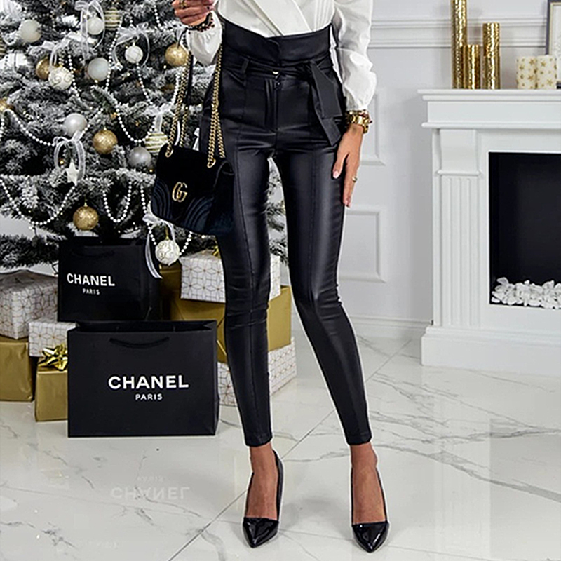 InstaHot Gold Black Belt High Waist Pencil Pant Women Faux Leather PU Sashes Long Trousers Casual Sexy Exclusive Design Fashion 10