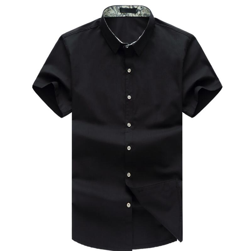 M-8XL Mens Shirts Big Sizes Summer Features Shirts Men Casual Jeans Solid Color Shirt New Short Sleeve Slim Fit Male