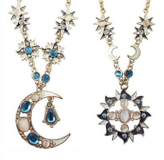 Bohemia Opal Sun Moon Stars Necklace Rhinestone Asymmetry Pendants Necklaces For Women Boho Beach Style Jewelry Collares
