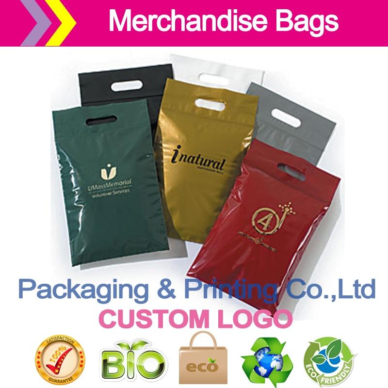 Merchandise Bags -Die-Cut Handle Plastic Bags w/Zip-Loc Closure customized logo