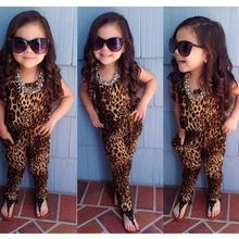 2016 summer new pattern children girl clothes set tide fan leopard print long maxi vestidos boho ukraine party plus size