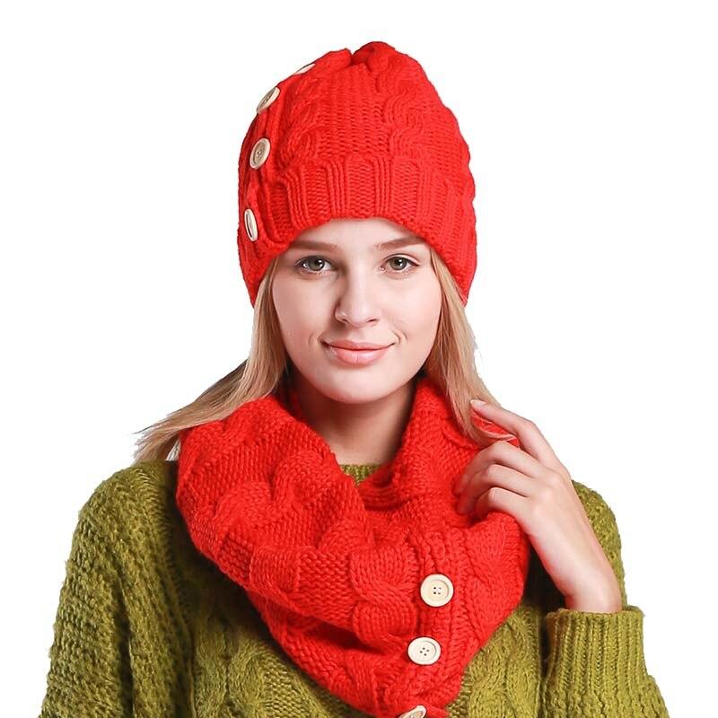 2 piezas gorra de invierno y bufanda mujeres Beanie moda Set sombrero y bufanda  para las 3b22aa826c6