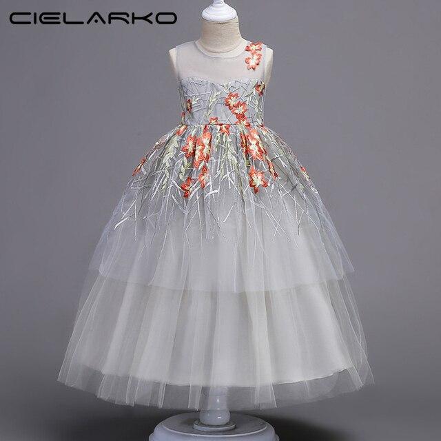 Cielarko/платье для девочек для подростков Детская одежда церемонии события Нарядные платья для девочек Кружево подростков свадебное платье платья