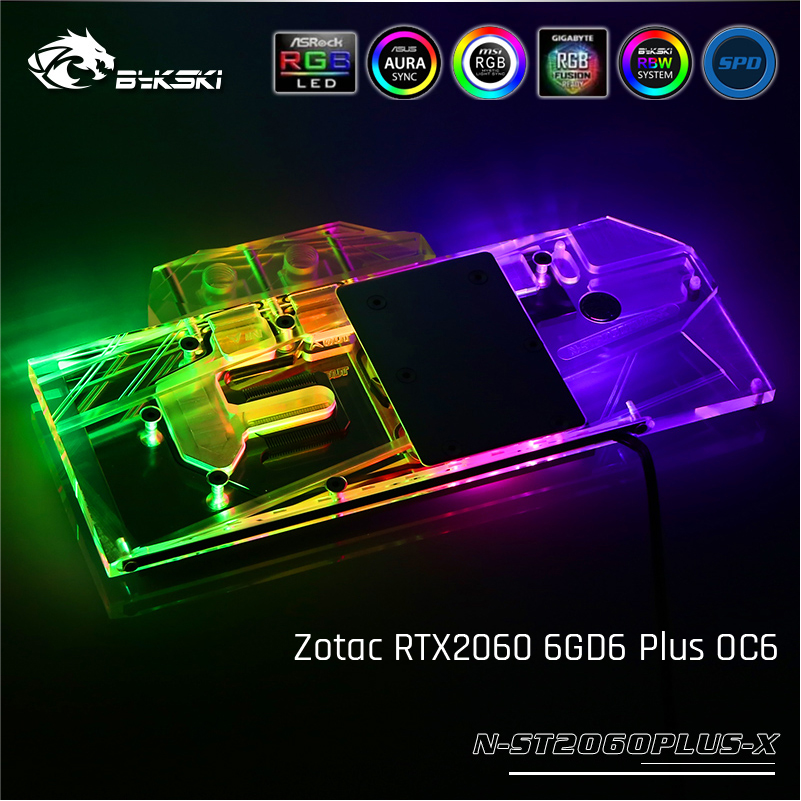 Bykski N-ST2060PLUS-X, Full Cover Graphics Card Water Cooling Block For Zotac RTX2060 6GD6 Plus OC6Bykski N-ST2060PLUS-X, Full Cover Graphics Card Water Cooling Block For Zotac RTX2060 6GD6 Plus OC6