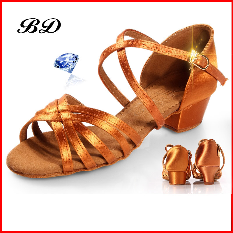 BD 603 Children DANCE SHOES Latin Shoes Ballroom Shoe Modern JAZZ Girl  Student  Low Heel 4.5 CM BLACK COLOR 25-39 SIZE ExercisE