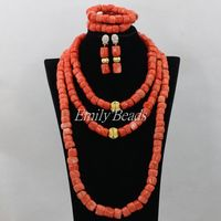 Free Shipping Luxury African Wedding Set Nigerian Coral Beads Necklace Set Fashion Perfect India Women Bridal Jewelry Set CJ495