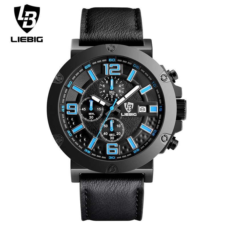 Fashion Sports Watches Commander Relogio Masculino Men Military Quartz Wristwatches Calendar Leather Waterproof Man Watch men quartz watches military fashion men business casual quartz wristwatches 50m waterproof watch relogio masculino liebig 1018