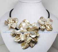 Gratis Verzending>> 18 inches witte mop shell parel bloem hanger ketting Mode-sieraden
