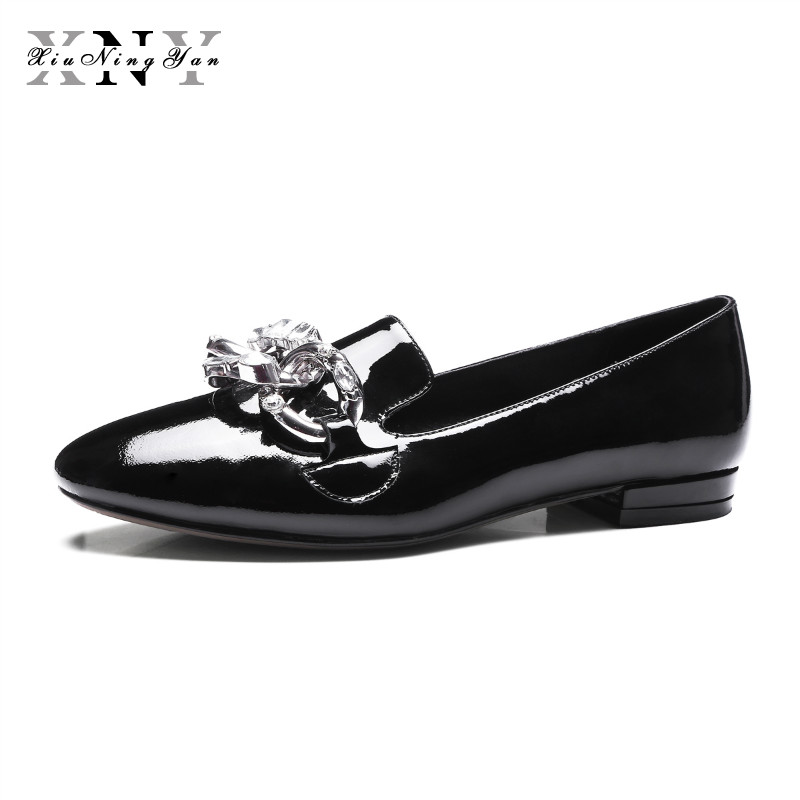 XIUNINGYAN Women Flats Loafers Chain Flat Shoes Women Slip on Shoes for Women Genuine Leather Spring Autumn Brand Shoes Black pinsen brand high quality women genuine leather shoes slip on flats handmade shoes loafers mocassin flat women s shoes slipony