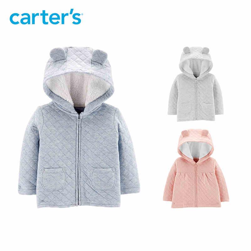 Carters Baby Girls Zip-Up Quilted Heather Jacket