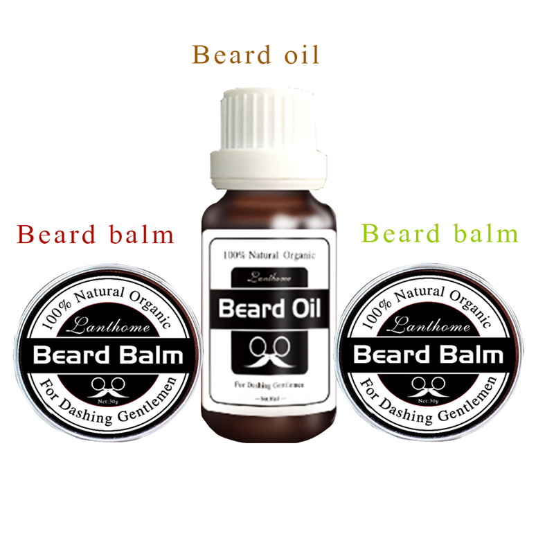 Lanthome Mens Grooming Kit Beard Oil Natural Conditioner Balm Organic Beard Growth Conditioner Leave in Styling Gentlemen Used