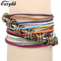 Caxybb Hot sale Colorful wax rope bracelet Hand Made bronze butterfly Bracelets For Men Women Bracelets Jewelry free delivery