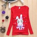 Бесплатная доставка детская одежда Хлопка Мультфильм кролик с Длинными рукавами 2-7 Т детские Футболки девушки Футболки