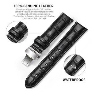 Image 2 - Istrap Echt Lederen Horlogeband Vlindersluiting Bands Croco Grain Armband Horloge Sized In 12 13 14 16 17 18 19 20 21 22 24 Mm