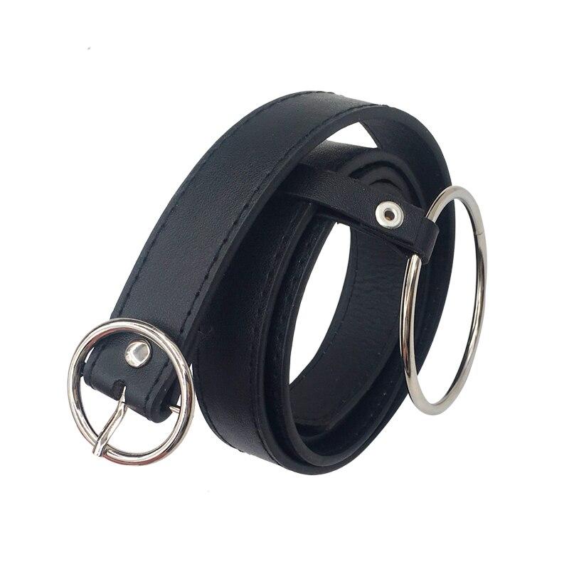 Женский пояс на талию, милое женское большое кольцо, декорированные ремни для женщин,, новейший дизайн, Модная Золотая пряжка, Одноцветный ремень из искусственной кожи - Цвет: RoundBuckleRing