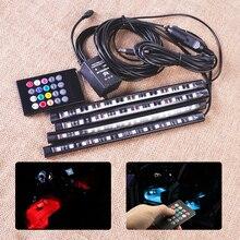 12 V DC LED SUV Coche Piso Interior Música Ambiente Luminoso multicolor Decoración de La Lámpara de Control Remoto Inalámbrico + encendedor de cigarrillos