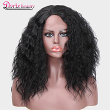 Doris ομορφιά συνθετική δαντέλα μπροστινή περούκα δαντελωτή μαύρα μαλλιά σκούρα καφέ ελβετική δαντέλα 130% πυκνότητα μαύρη περούκα για γυναίκες