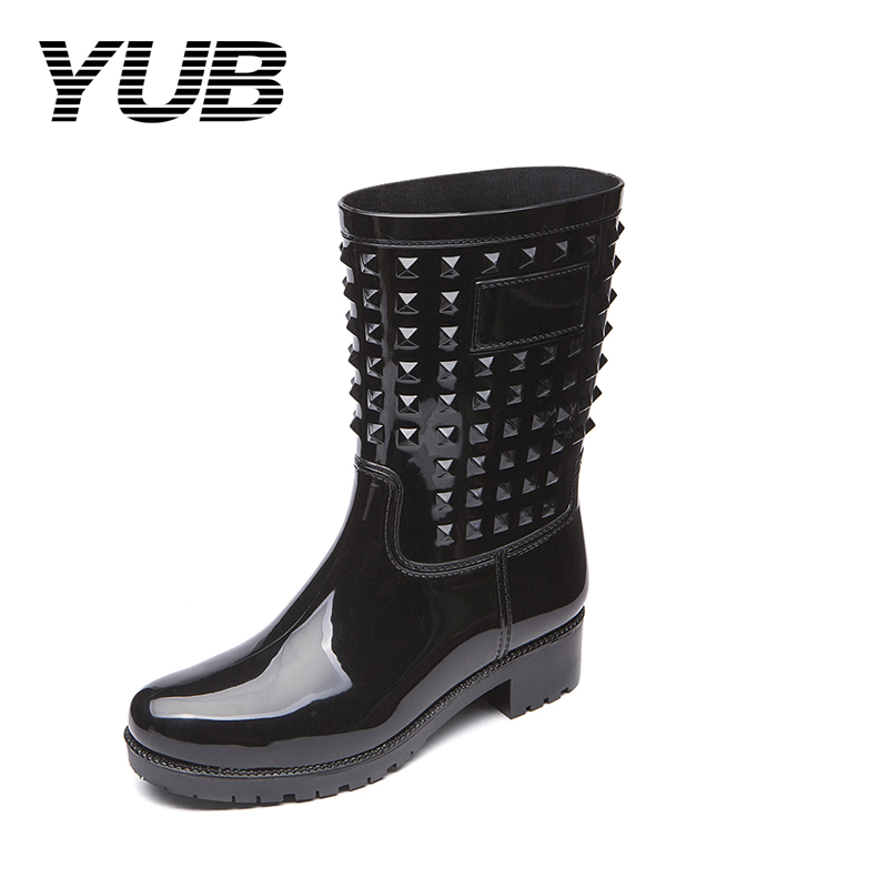 YUB Brand Women's Rain Boots with Fashion Rivet Short Ankle Boots Design PVC Waterproof Women Rubber Shoes Size 6.5-10 yub brand waterproof rain boots for women with solid color slip on winter mid calf shoes for girls