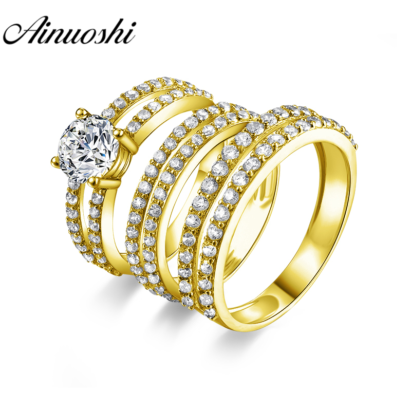 AINUOSHI Real Gold TRIO Rings 14K Yellow Gold Couple Ring Set Pave Setting Double Band Lovers Engagement Wedding Rings JewelryAINUOSHI Real Gold TRIO Rings 14K Yellow Gold Couple Ring Set Pave Setting Double Band Lovers Engagement Wedding Rings Jewelry