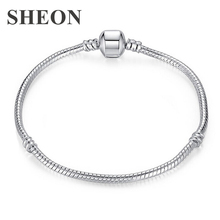 High Quality 20cm Silver Snake Chain Link Bracelet Fit European Charm Pandora for Women DIY Fashion Jewelry making