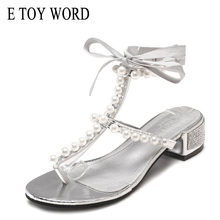 цены E TOY WORD 2019 New Summer Women Sandals Bohemian Beach Shoes women thick heels pinch toe pearl T-Strap Roman Sandals