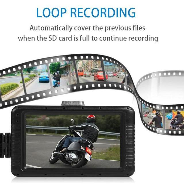 """VODOOL SE100 3,0 """"LCD Full HD 1080P motocicleta DVR cámara de salpicadero Vista frontal trasera de la moto cámara de vídeo visión nocturna Dashcam"""