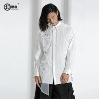 Логотип оригинальные дизайнерские мужской одежды показывает личности свободная футболка с длинными рукавами с текст, напечатанный рубашк