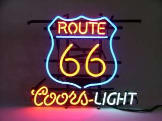 Route 66 Coors L Glass Neon Light Sign Beer BarRoute 66 Coors L Glass Neon Light Sign Beer Bar