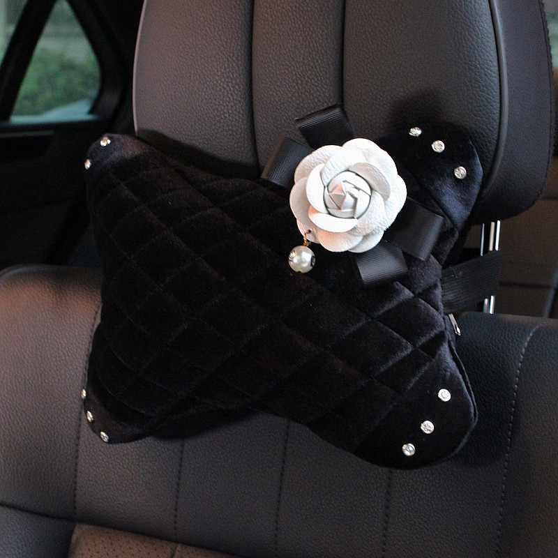חמוד קמליה פרח קריסטל רכב פנים אביזרי כרית הקטיפה סטיילינג רכב משענת ראש תמיכת ציוד שיפטר מושב חגורת כיסוי