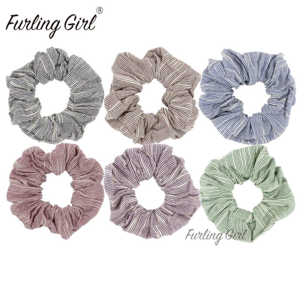 Furling Girl 1PC Three-Dimensional Stripes Fabric Hair Scrunchy Ponytail Holder Hair Ties Gum Elastic Hair Bands