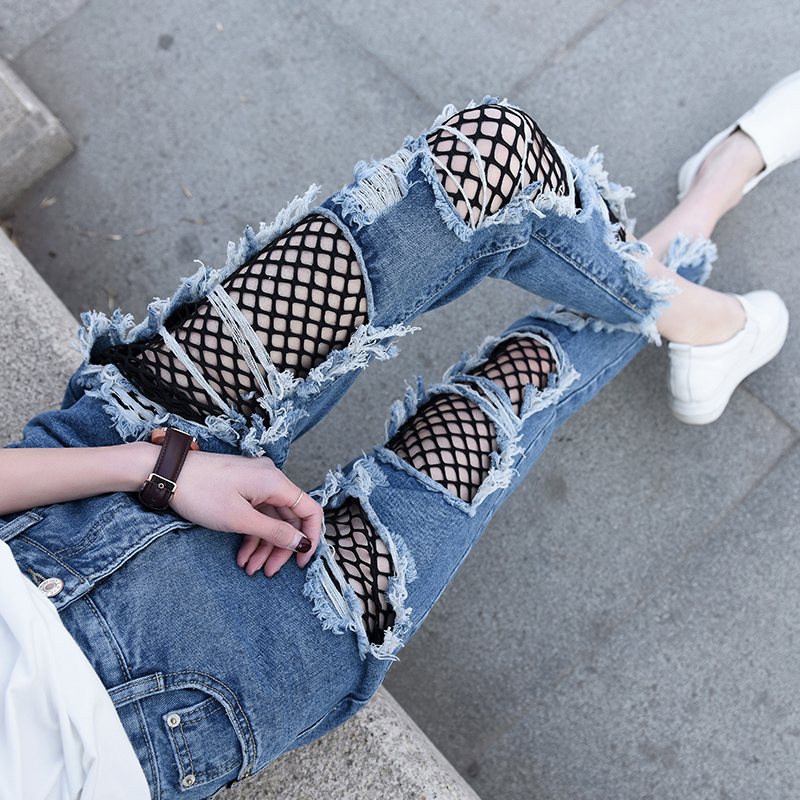 2017 New Spring and Summer Hole Mesh Stitching Ripped Jeans for Women Loose High Waist Jeans Denim Harem Pants new summer vintage women ripped hole jeans high waist floral embroidery loose fashion ankle length women denim jeans harem pants