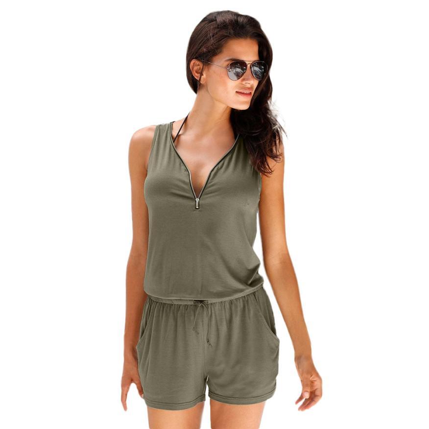 Hot sale Fashion Deep V-neck Zipper Rompers Women Jumpsuit Beach Playsuit 2018 Summer Sexy Sleeveless Short One Piece Catsuit