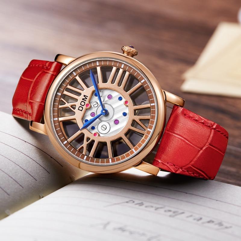 DOM luxury brand watches waterproof style leather gold skeleton quartz watch women G-1031