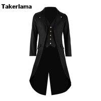 Mężczyzna Płaszcz Kurtka Steampunk Wykop Cosplay Costume Victorian Gothic Frak Czarny Długi Płaszcz męska Garnitur Halloween Party Uiform