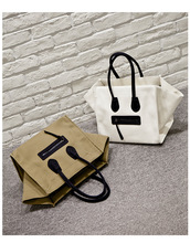 2016 smiley package canvas face bag nano luggagebag tote handbag Phanom Shoulder Bag hot women smiley bag large size 2 colors