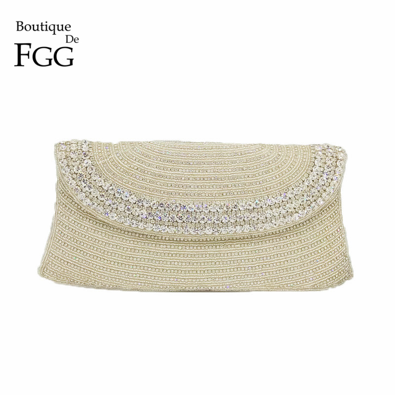 Boutique De FGG Hand Made Beaded Women Evening Purse Clutch Bag Wedding Party Cocktail Bridal Beading Silver Crystal Handbag hand made flower fascinator fashion hair clip women cocktail wedding party bridal beautiful top hat ladies dress sinamay hats