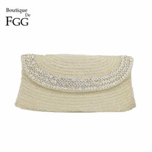 Boutique De FGG Hand Made Beaded Women Evening Purse Clutch Bag Wedding Party Cocktail Bridal Beading Silver Crystal Handbag boutique de fgg vintage gunmetal chinese style women silver beaded purse metal frame evening wedding party handbag clutch bag