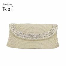 купить Boutique De FGG Hand Made Beaded Women Evening Purse Clutch Bag Wedding Party Cocktail Bridal Beading Silver Crystal Handbag дешево