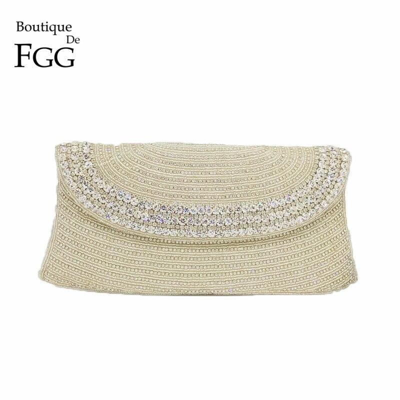 Boutique De FGG Hand Made Beaded Women Evening Purse Clutch Bag Wedding Party Cocktail Bridal Beading Silver Crystal Handbag