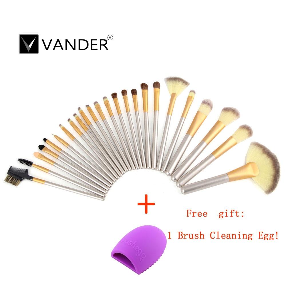 Vander  24pcs Pro Makeup Brush eyelashes Powder  Eyeshadow Eyeliner Lip Cosmetic Brush Tools Kit Set+ Cleaning Egg Brushegg
