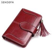 SENDEFN 2018 New Arrival Wallet Female Small Purse Leather Short Wallet Women Zipper Pocket Tassel Blue Two Fold Coin Purse