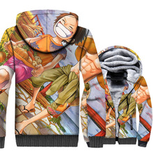 man winer wool liner warm hoodies hot Anime one piece thicken swag jackets 3D Print 5XL brand clothes 2018 men sweatshirts coat