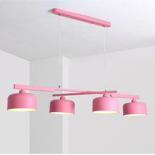 Macaron modern simple 4 lamp pendant lights metal with leather Accessory colorful kids room foyer lighting decoration droplight цены
