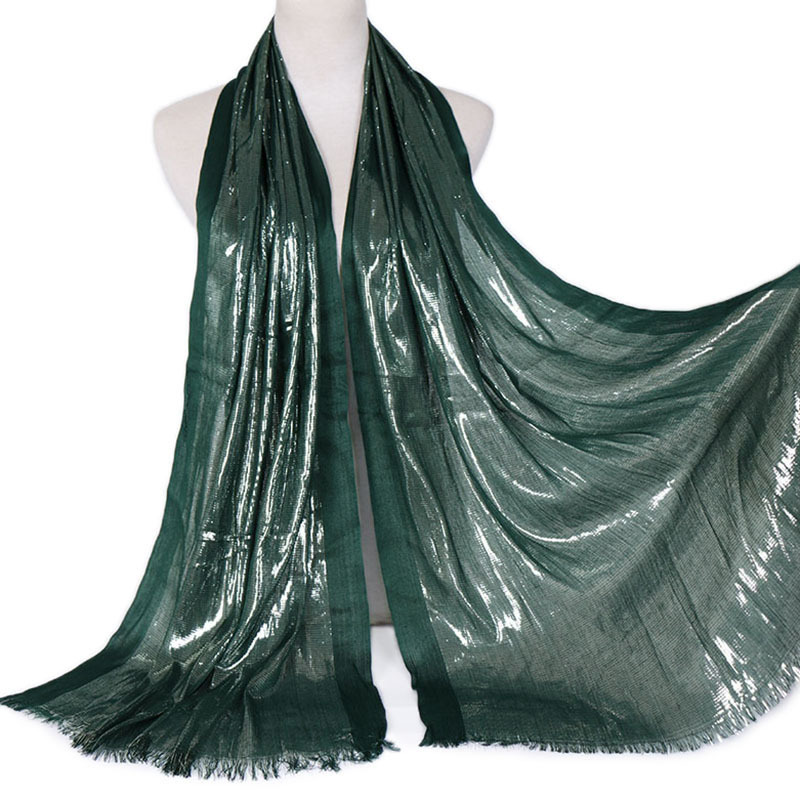 1 Pcs Plain Lurex Glitter Hijab Soft   Scarf   Tassel Shimmer Silver Shawl Muslim Solid Color   Scarves     Wraps   Cotton Headband 180*63Cm