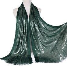 1 Pcs Plain Lurex Glitter Hijab Soft Scarf Tassel Shimmer Silver Shawl Muslim So