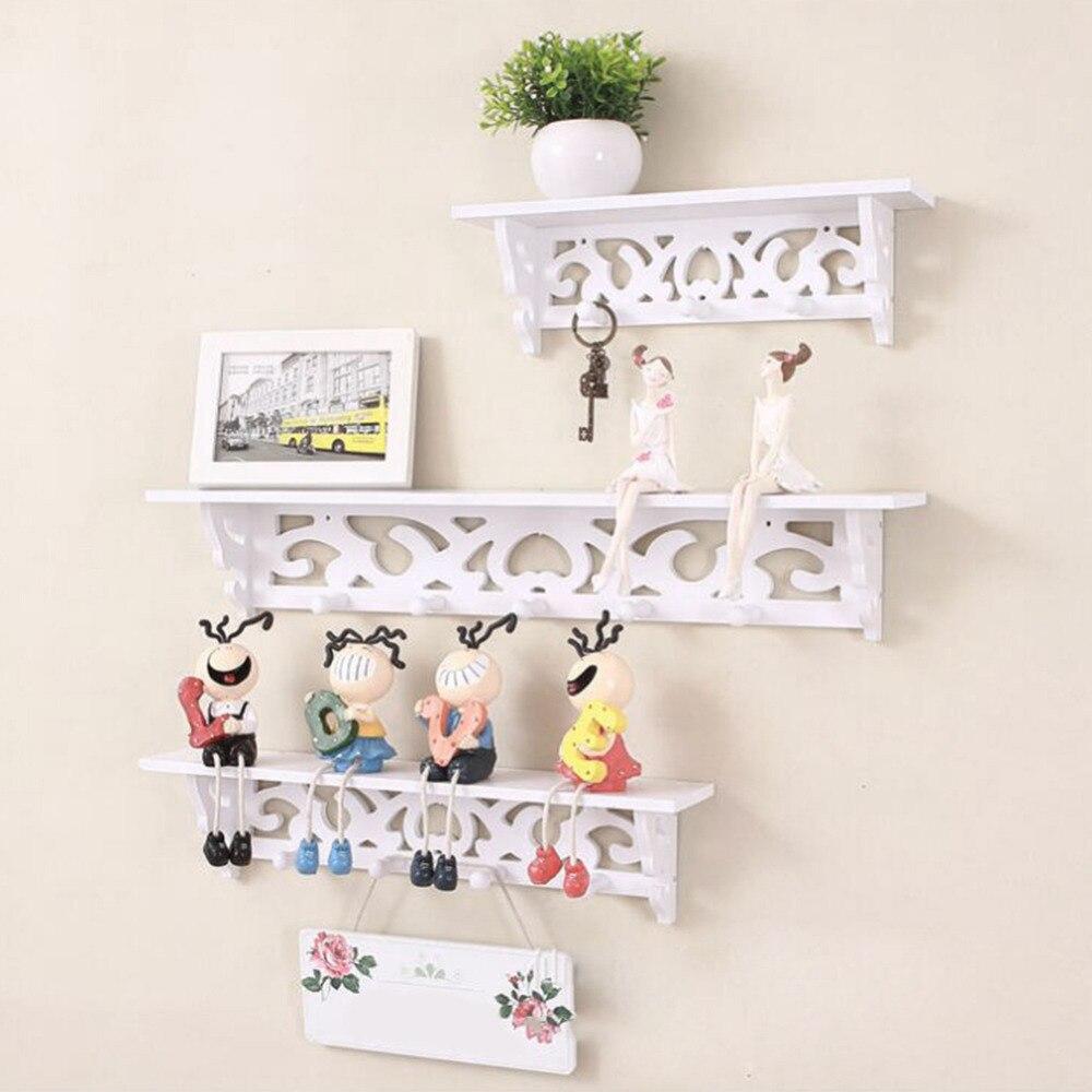 White Wall Hanging Shelf Goods Convenient Rack Storage Holder Home Bedroom Decoration Ledge Creative Home Bathroom ShelvesDecor
