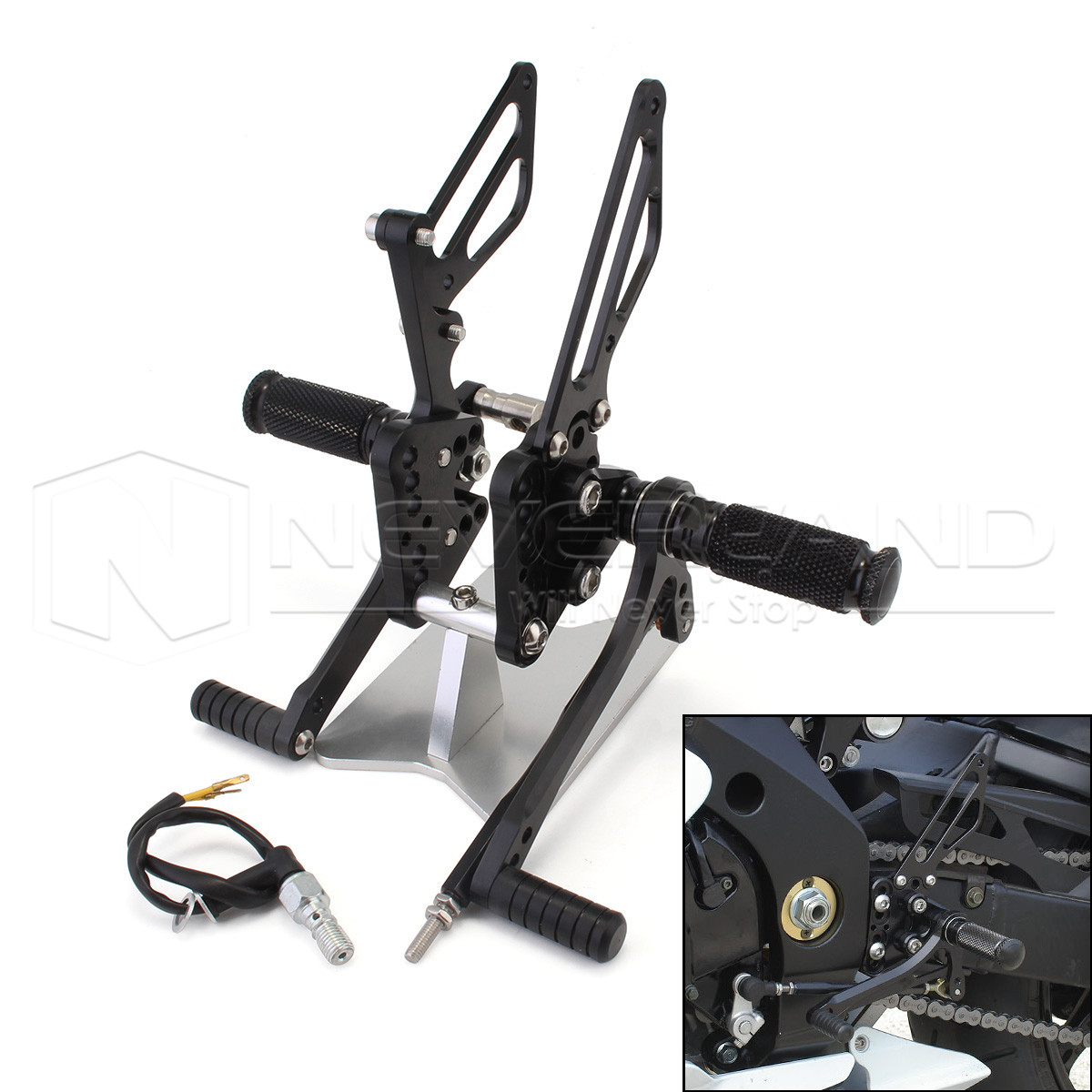 Motorcycle Foot Rests for Suzuki GSXR1000 GSXR 1000 2005 2006 CNC Rearset Foot pegs Rear set Black D20 aftermarket free shipping motorcycle parts front rider foot pegs bracket fit for suzuki gsxr1000 2005 2006 2007 2008 polish